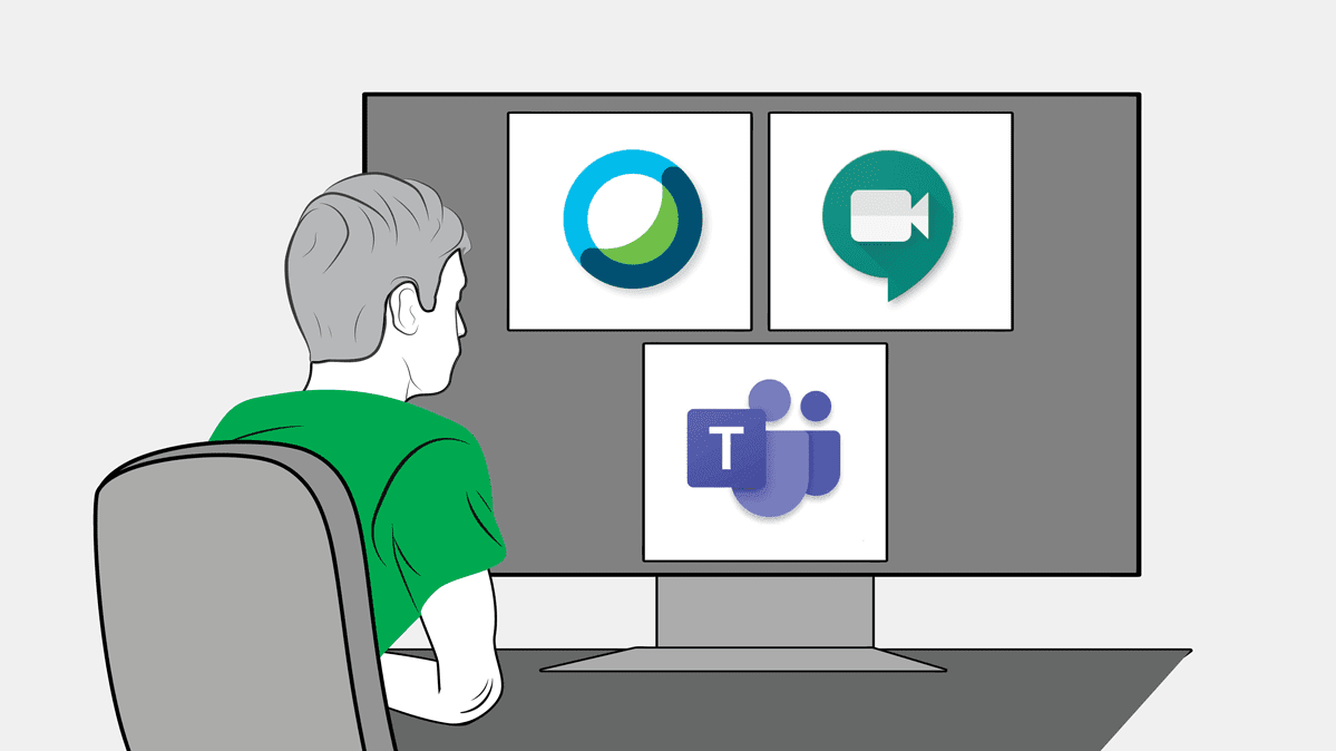 Illustration of a person in front of a computer monitor with the logos of videoconferencing services.