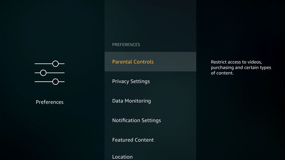 Screen shot of the parental controls on an Amazon Fire TV streaming player.