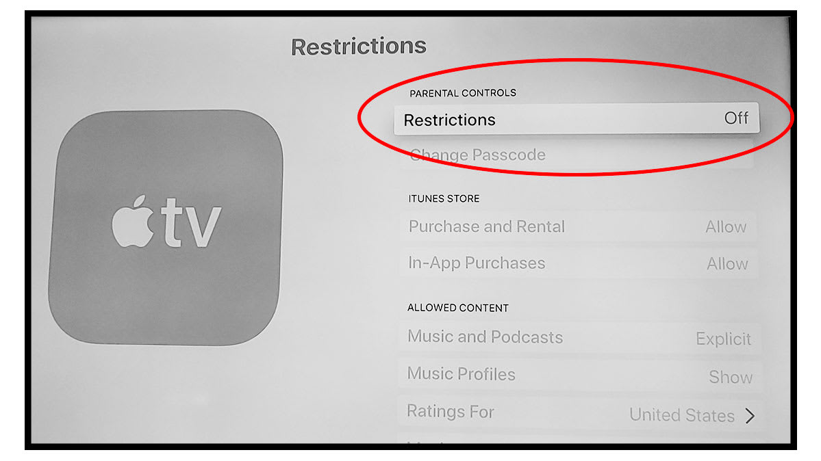 Screen shot of the Apple TV's parental controls, which are called