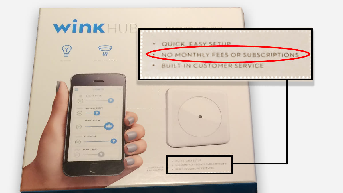 "The packaging of the first-generation Wink smart home hub, which says there are ""no monthly fees or subscriptions."""