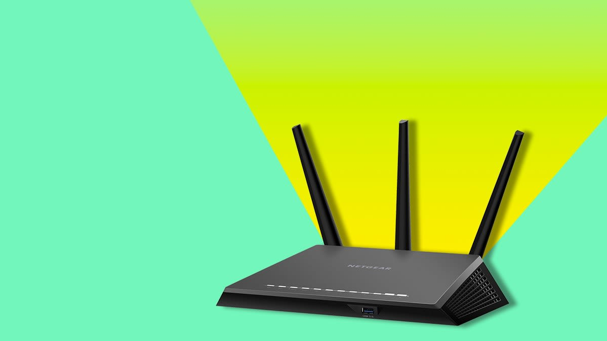 Router on a colorful background.