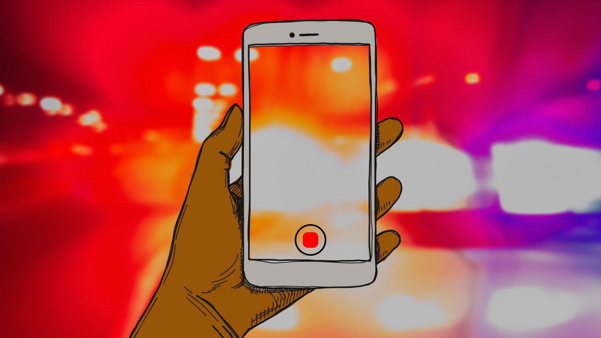 Illustration of a person using a smartphone to record video during a protest.