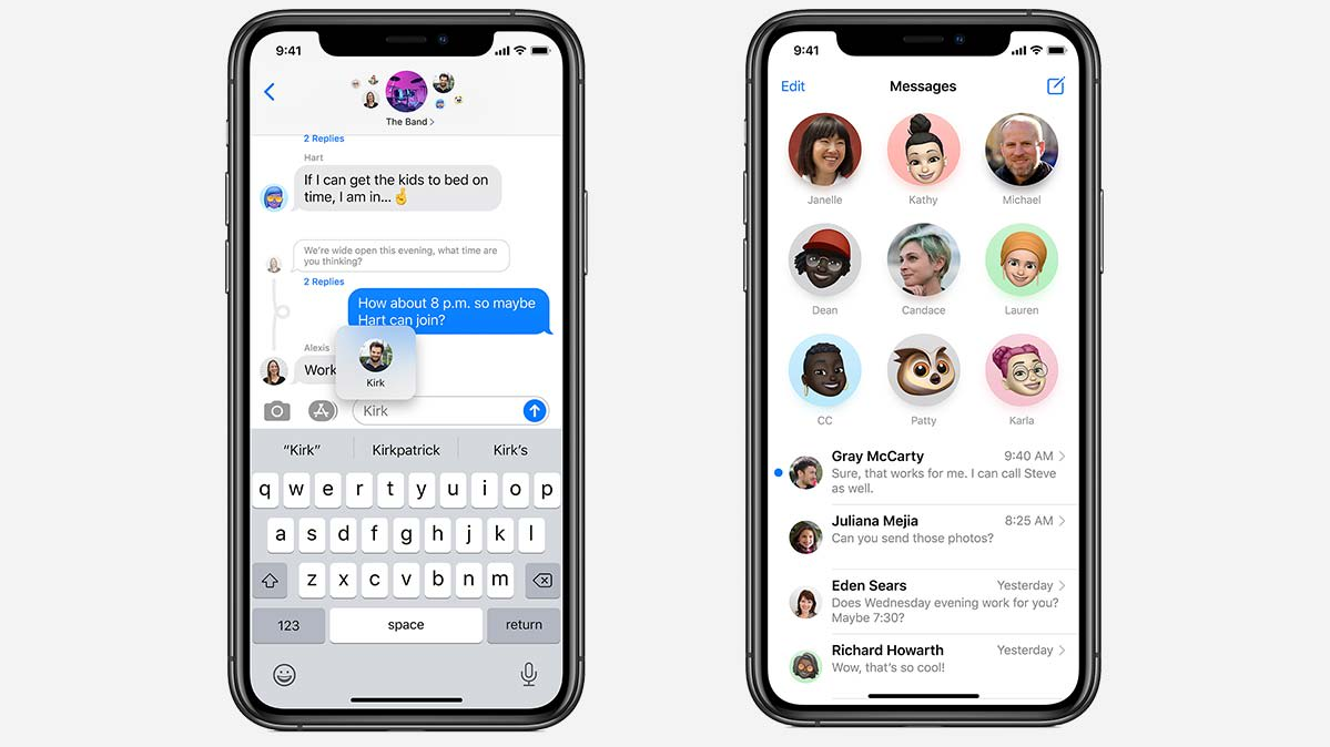 An iPhone screen showcasing smarter messaging with Apple's iOS 14.