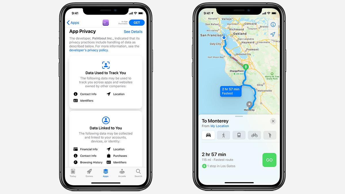 An iPhone screen with new apple maps.