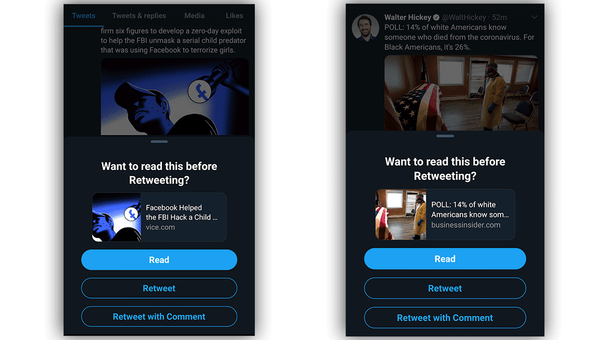 Two screenshots of the new Twitter feature prompting a user to read an article before retweeting.
