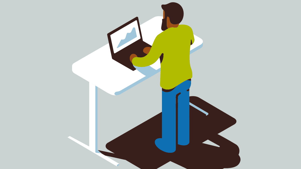 Illustration of a person using a standing desk