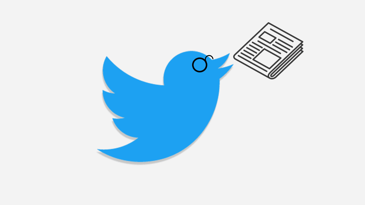 An illustration of the Twitter logo with a newspaper.