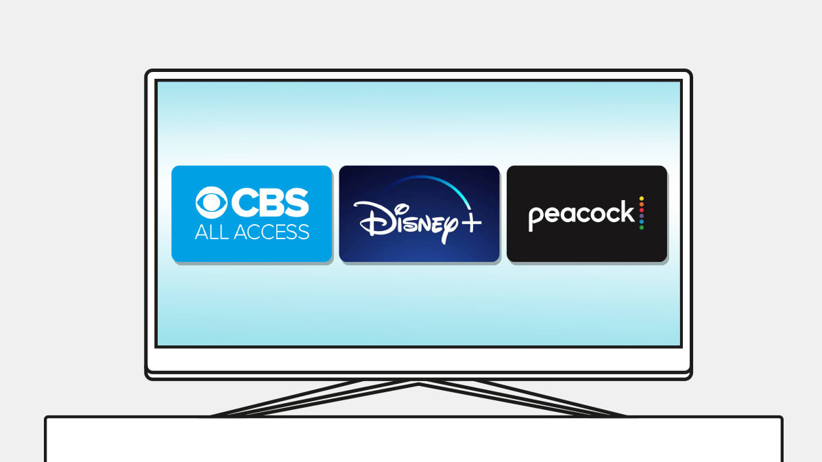 Streaming media app icons for CBS All Access, Disney+, and Peacock on a TV screen