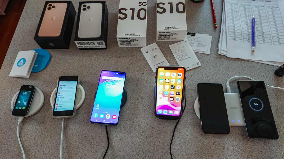 Wireless chargers for smartphones undergoing testing by Consumer Reports.