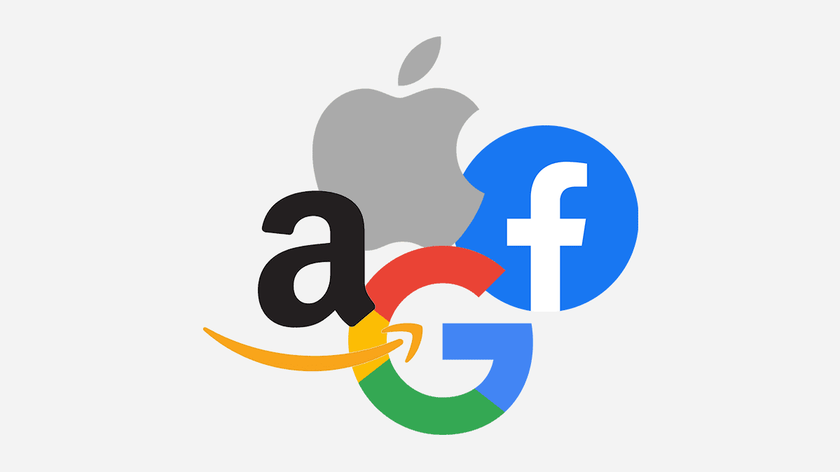 Logos of the four companies featured in Congress' antitrust hearing: Amazon, Apple, Facebook, and Google.