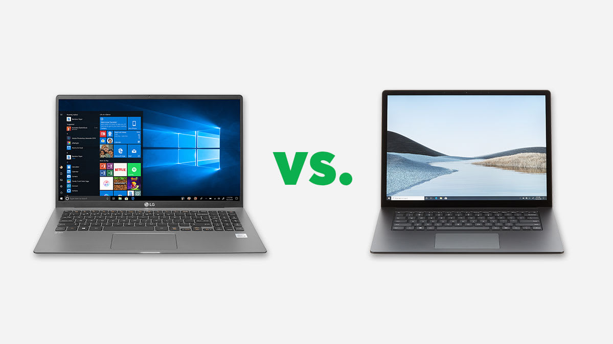 Photo of the LG Gram (left) and Microsoft Surface Laptop 3