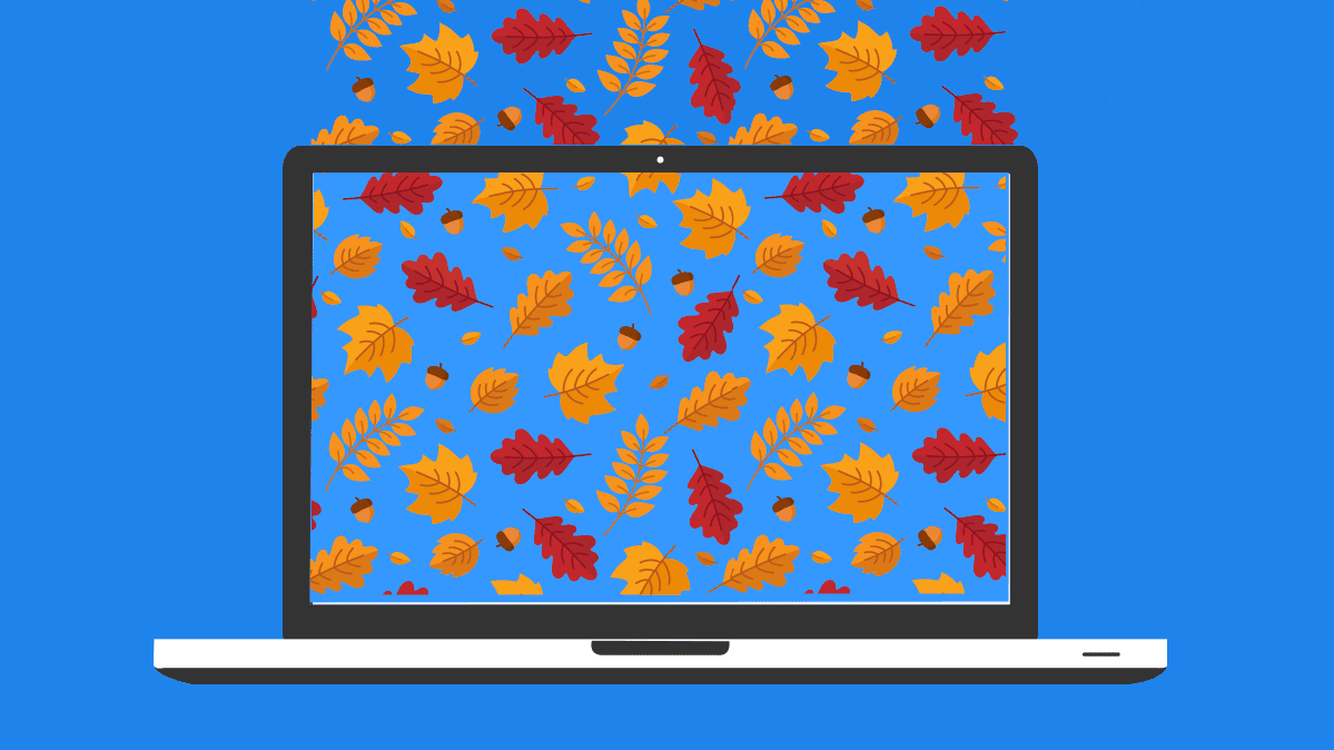 An illustration of a laptop with falling leaves on the screen.