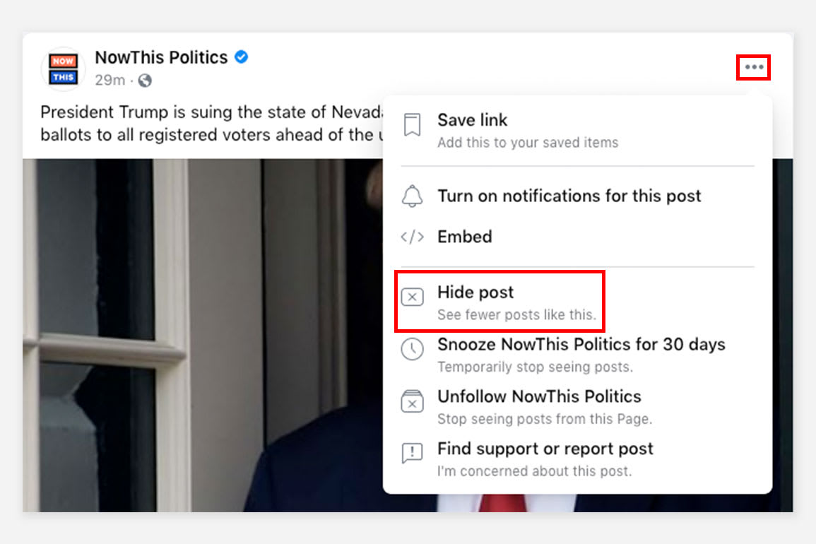 A screenshot of the menu which lets you hide a post.