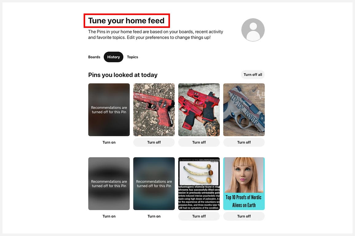 A screenshot of a user using the Tune Your Homefeed function on Pinterest.
