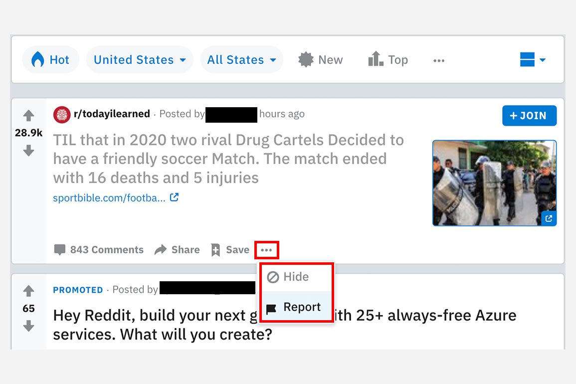 A screenshot of the report button on a Reddit post.