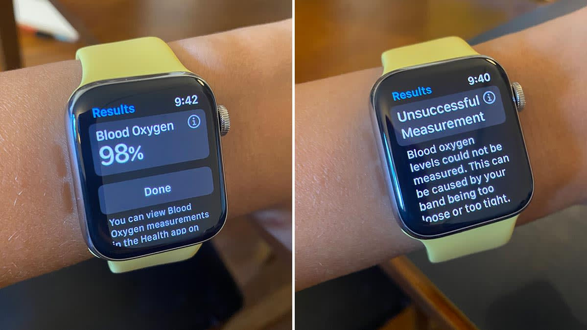 Images showing the Apple Watch Series 6's blood oxygen results and an error message.