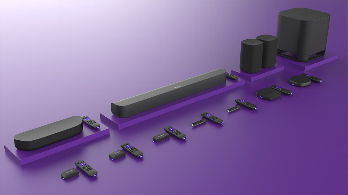 Photo of the Roku streaming player and sound bar lineup.