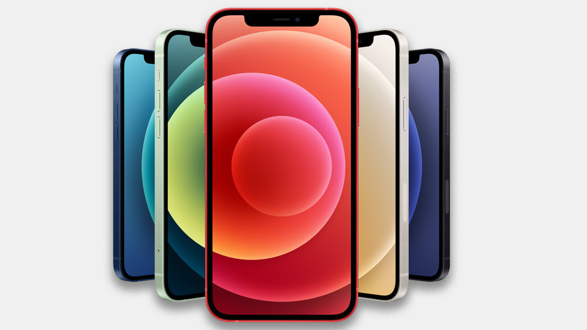 A fanned-out display of five iPhone 12 smartphones