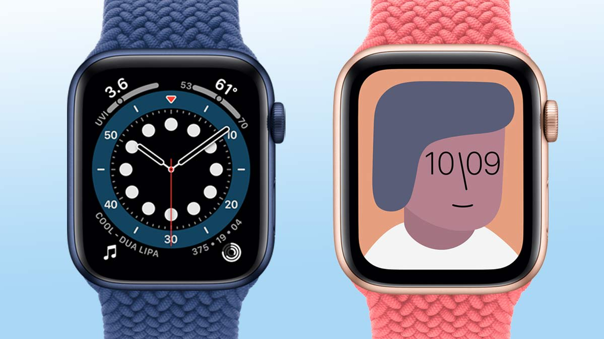 Apple Watch Series 6 (left) and Apple Watch SE (right)