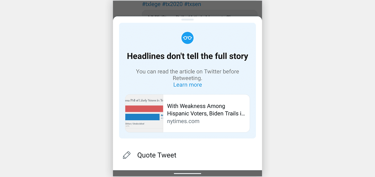 A screenshot of Twitter's new pop-up promting users to read an article before they retweet it.