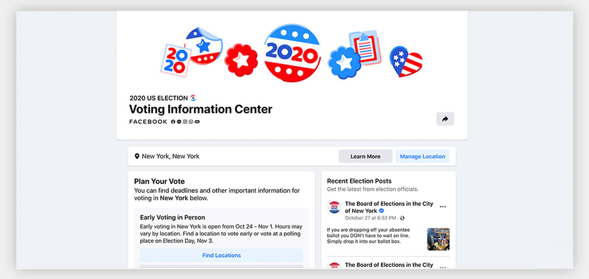 A screenshot of Facebook's voting information center.