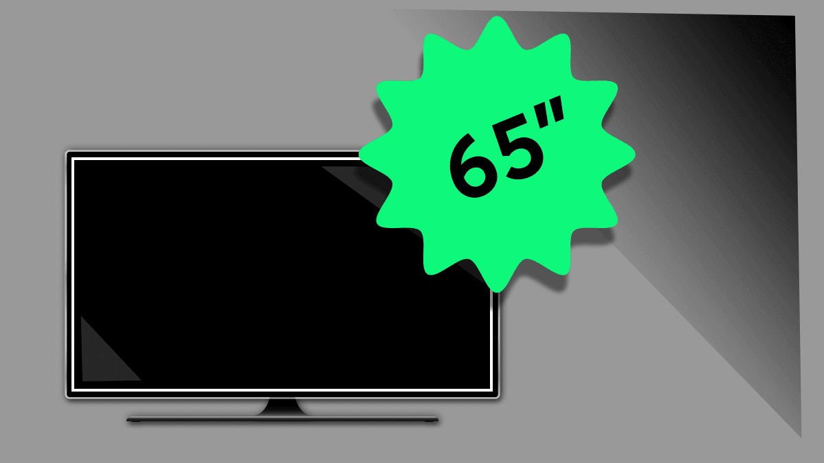Illustration of a flat-screen TV with a sunburst indicating it's a 65-inch model