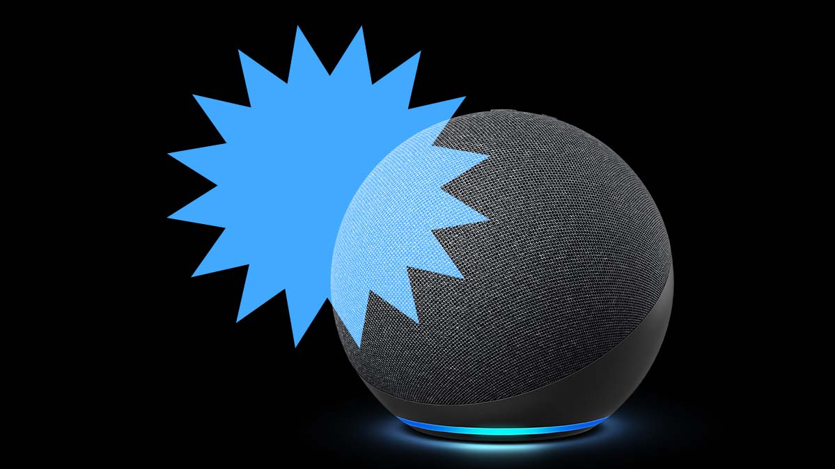 An Amazon Echo Dot (4th gen.) on black background