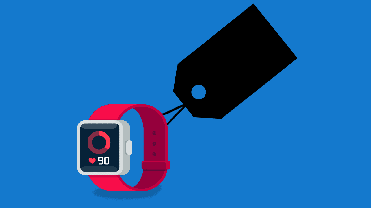 Illustration of a smartwatch with a price tag