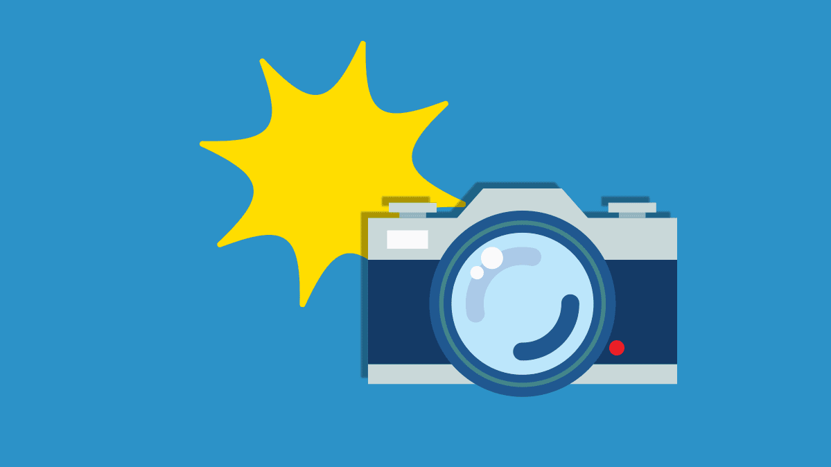 Illustration of a camera taking a photo with a yellow starburst