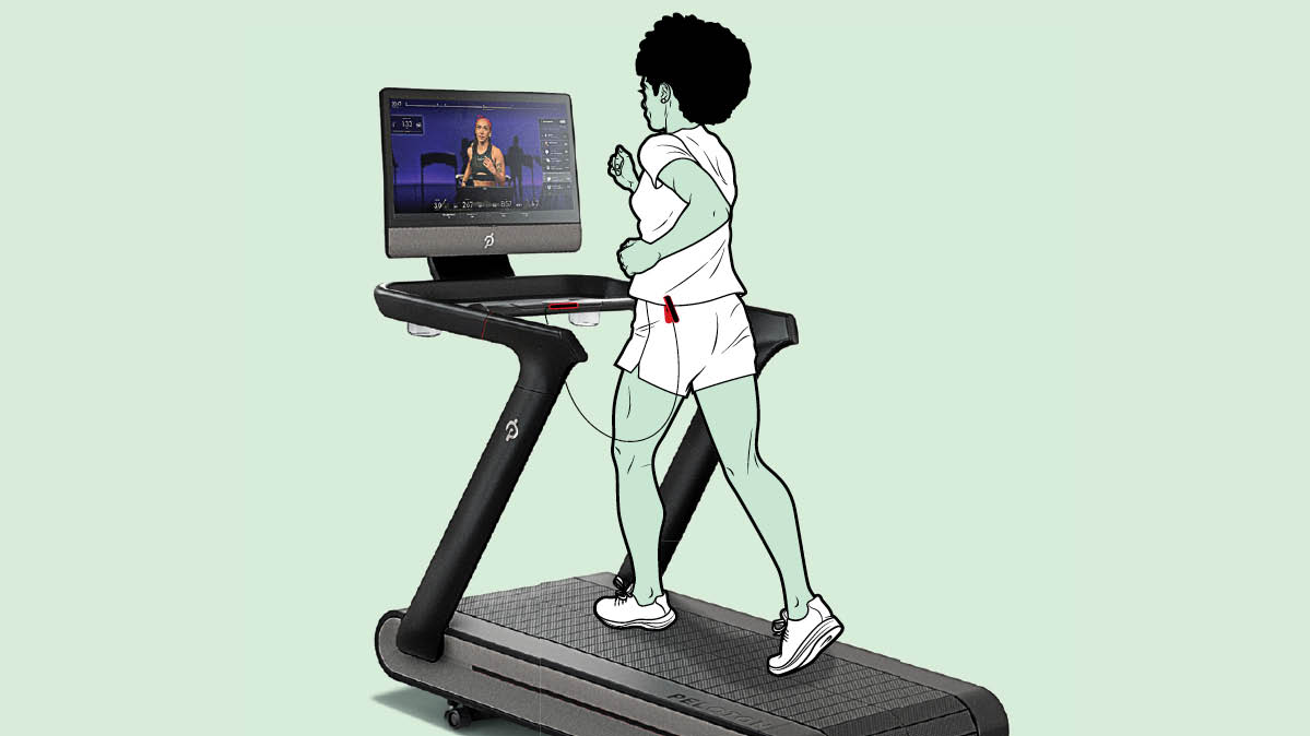 Illustration showing someone running on the Peloton Tread treadmill