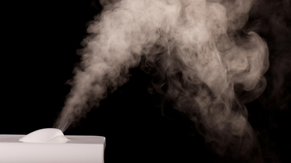 A humidifier producing fine steam vapor.