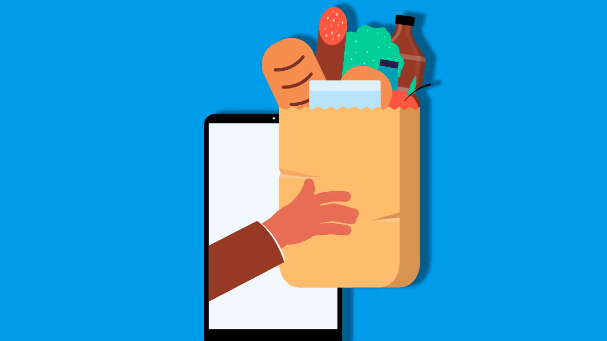 Illustration showing a grocery shopping bag with a smartphone