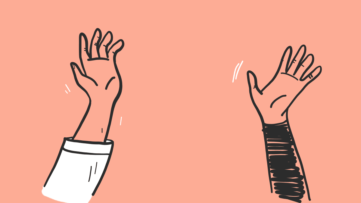 Illustration depicting social distancing showing two hands in the air