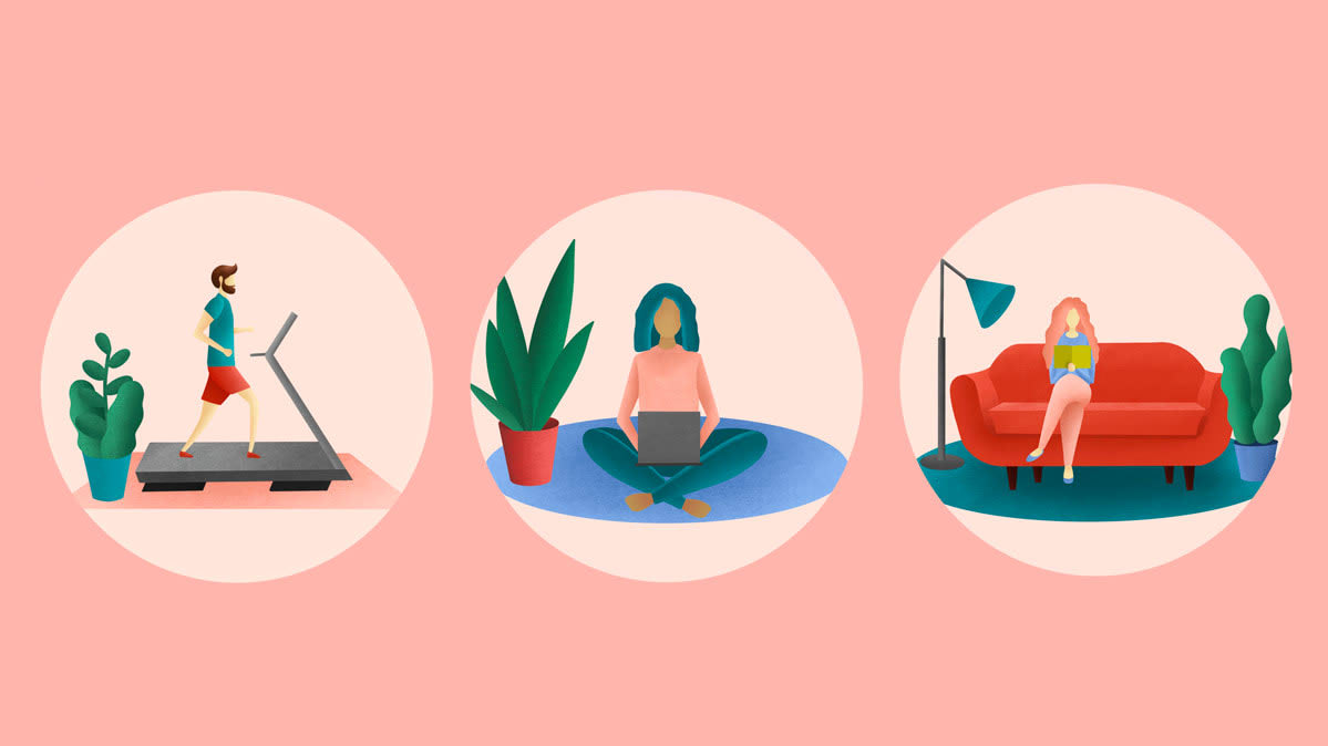 Illustrations of people managing COVID-19 stress by exercising, doing yoga, and reading.