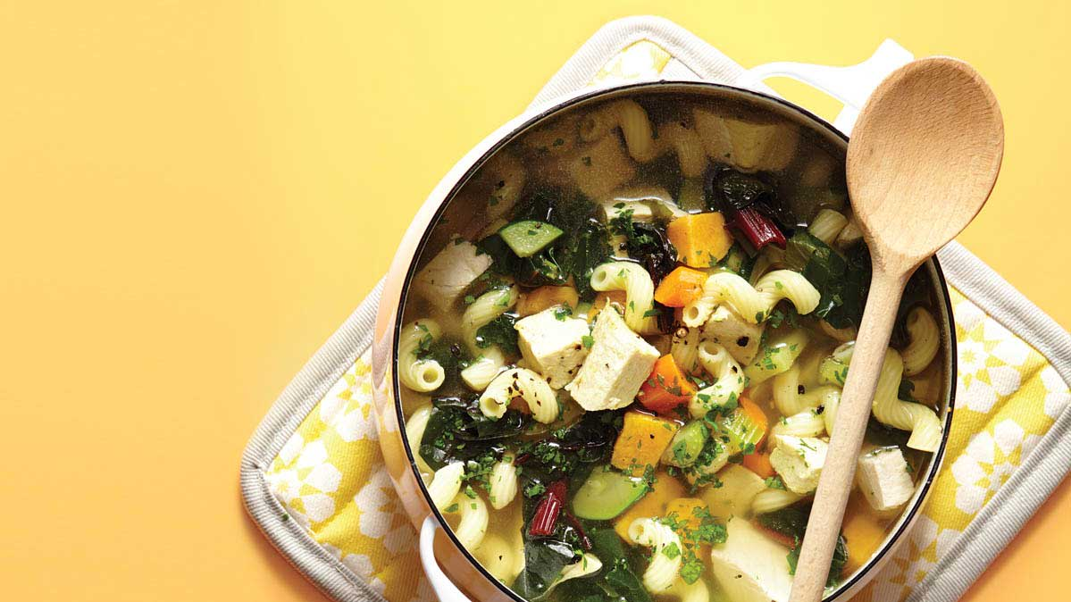A pot of mix-and-match healthy soup.
