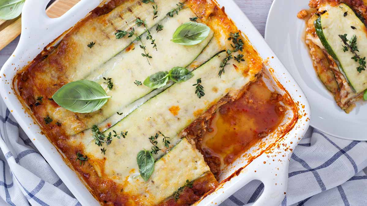 Lasagna made with zucchini instead of noodles.