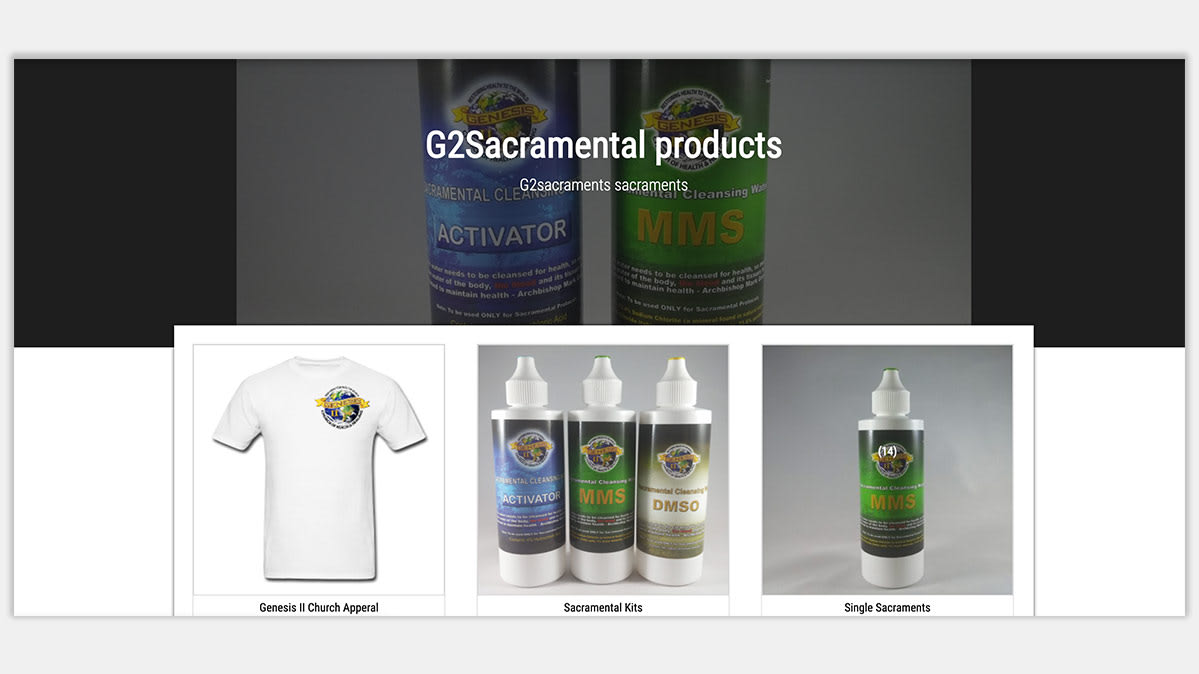 A screenshot for the website where Genesis II Church is alleged to have directed supporters to buy Miracle Mineral Solution.