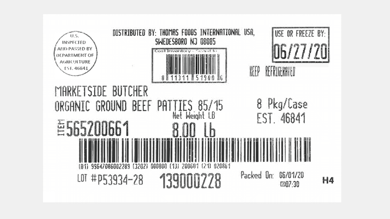 Label from recalled ground beef, Thomas Farms