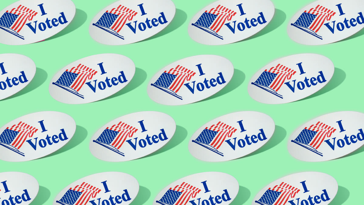 Illustration of several I Voted stickers with an American flag on a green background