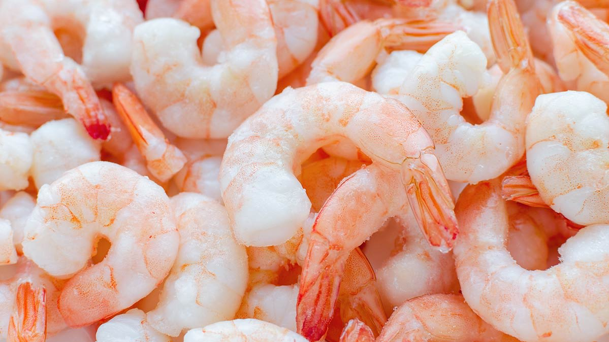 Photo of frozen cooked shrimp