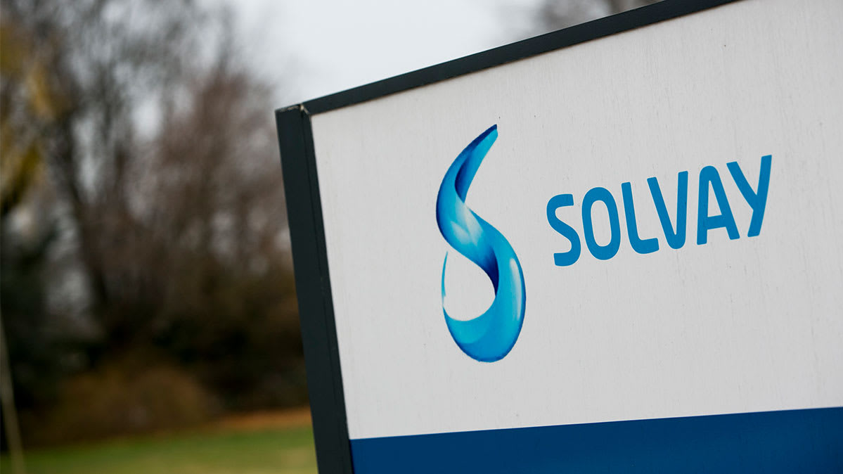 A sign for the chemical company Solvay.