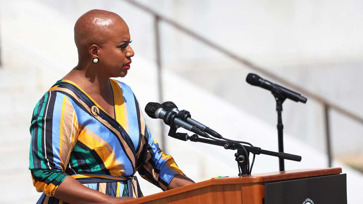 Representative Ayanna Pressley speaks during the March on Washington at the Lincoln Memorial August 28, 2020 in Washington, D.C.