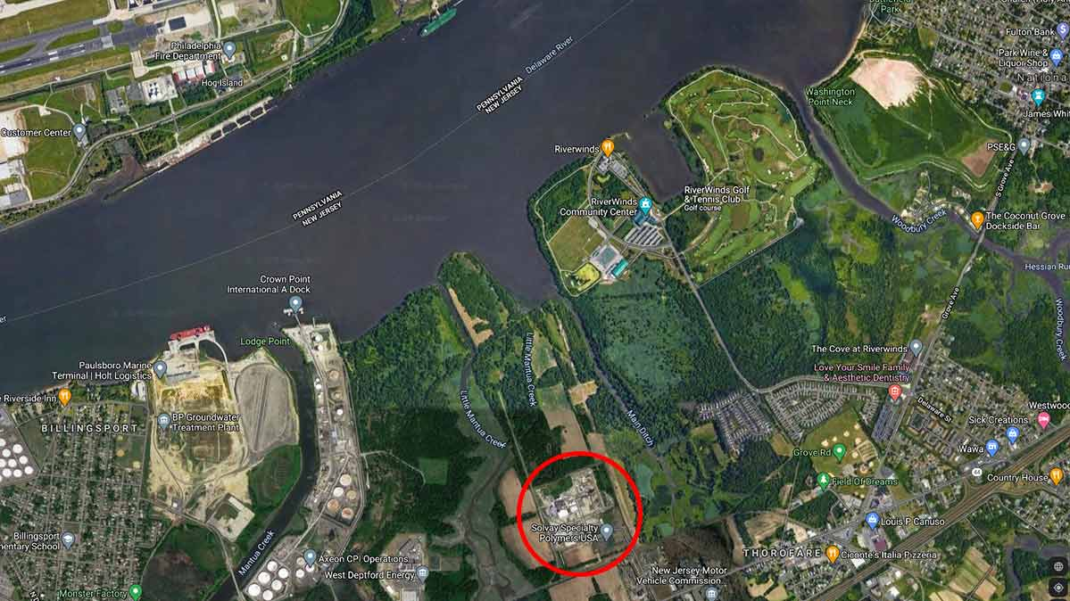 A Google Maps image showing the location of the Solvay chemical plant near the Delaware River in New Jersey.