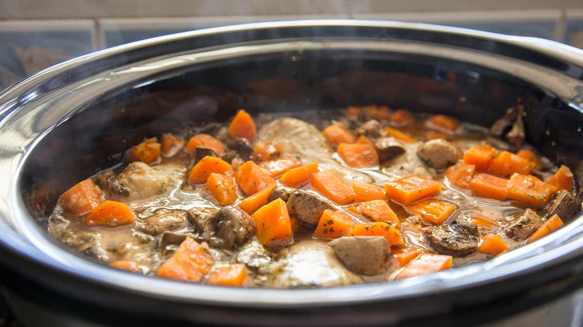 Beef stew in a slow cooker