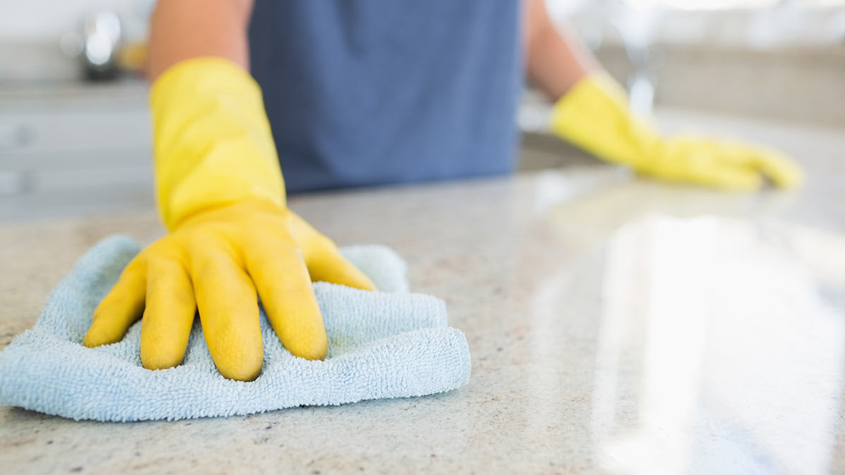 Damage caused when you use vinegar to clean granite countertops.