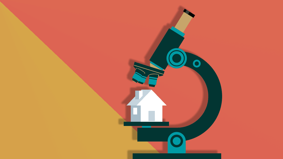 An illustration for a home inspection depicting a home under a microscope