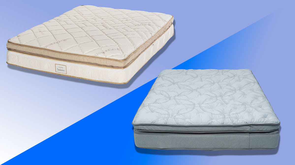 Composite photo illustration of the Saatva Solaire mattress (left) and the Sleep Number i8 mattress on a color background