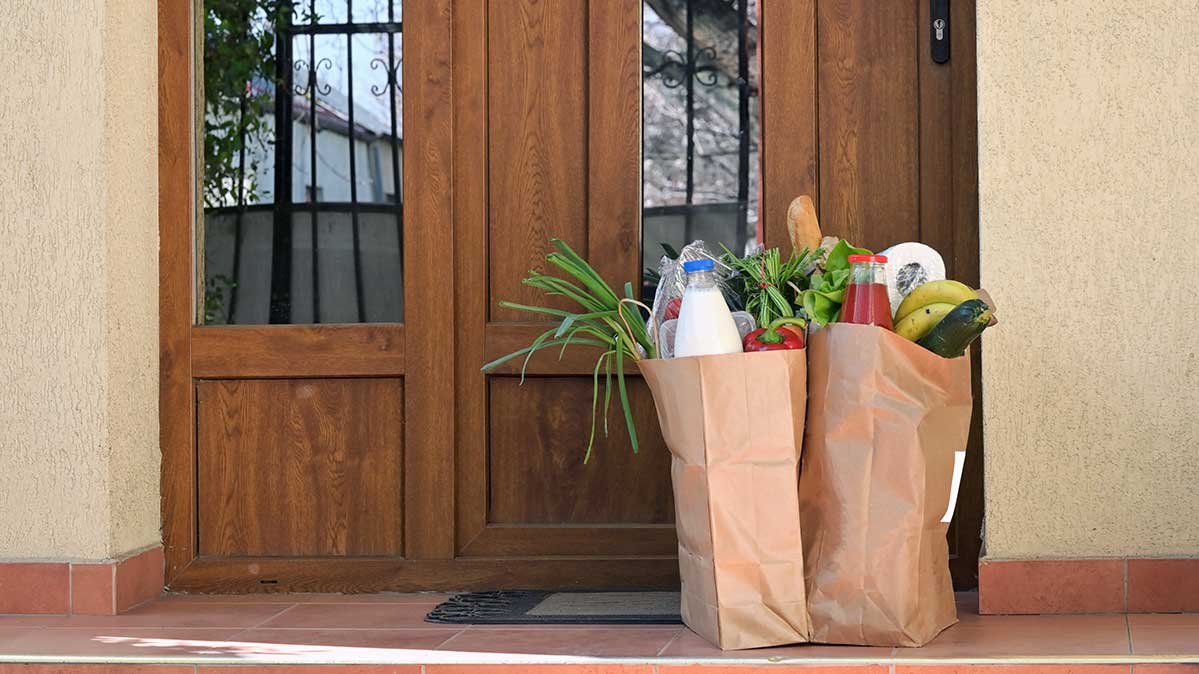 Delivered grocery bags on a doorstep is how many people are getting groceries during the coronavirus pandemic