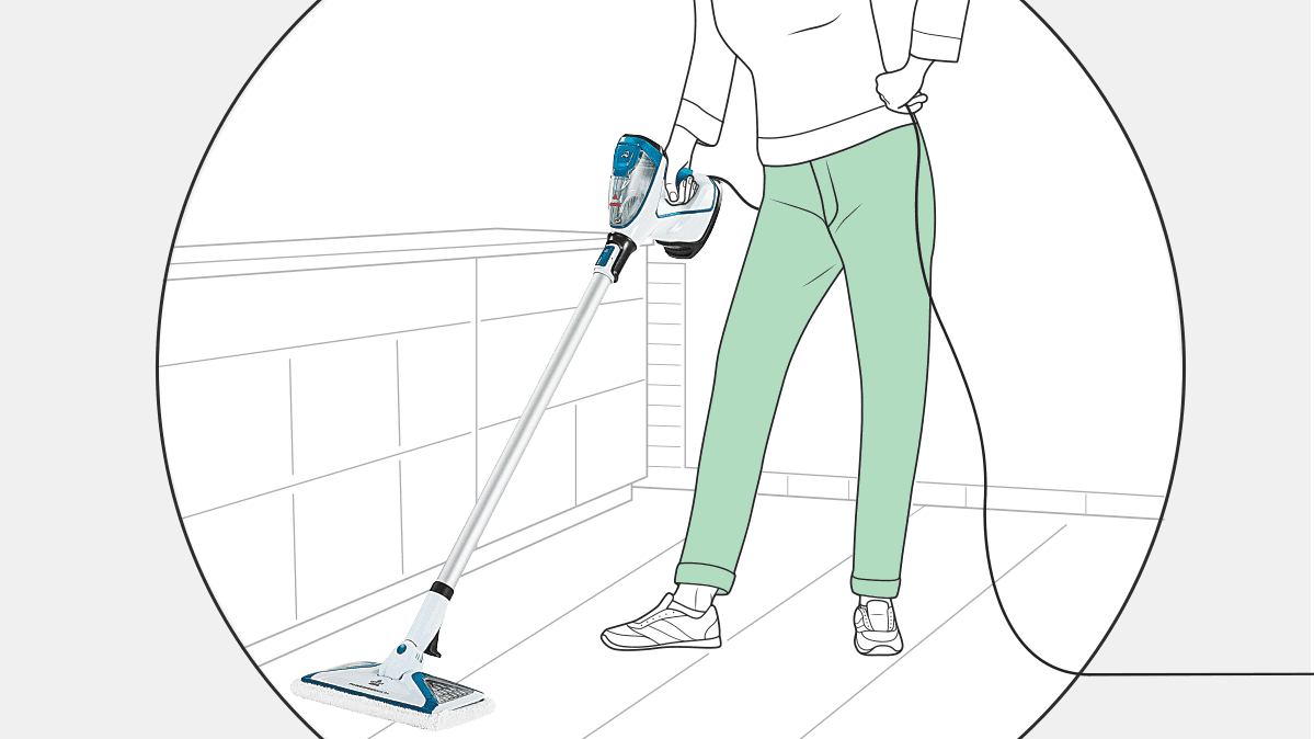 An illustration of someone using a steam mop on floors.