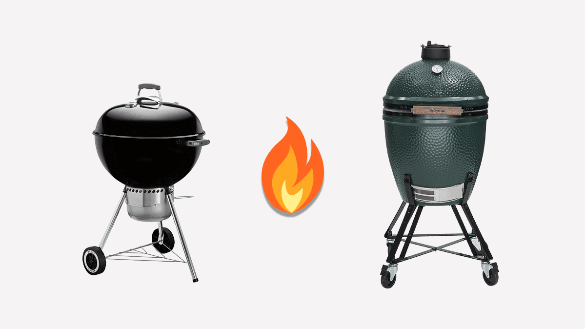 The Weber Original Kettle grill (left) and the Big Green Egg kamado grill (right)